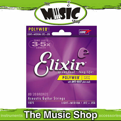6 Sets of Elixir Polyweb 12-56 80/20 Bronze Acoustic Guitar Strings - 11075