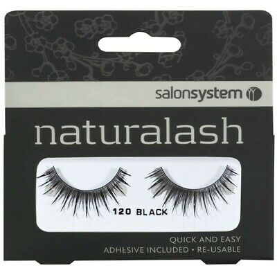 Salon System New Fake Re-Usable Black Lashes 120 Eyelashes Natural Looking