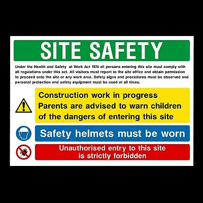 Site Safety Building Signs & Stickers Large Sizes! Thick Materials! (Css38)