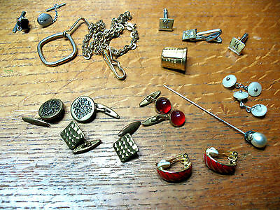 Hat  Pin  Cuff Links Earrings   Etc. Etc. Ensemble  Vintage  Excellent