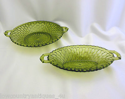 2 Indiana Glass Green Honeycomb Pattern Pickle & Relish Handled Dishes Vintage