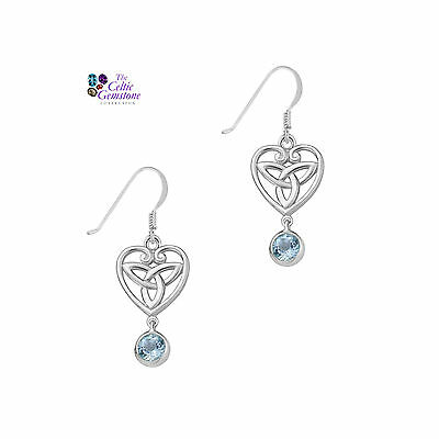 Celtic Sterling Silver Earrings with Blue Topaz and Trinity Knot Earrings 9328