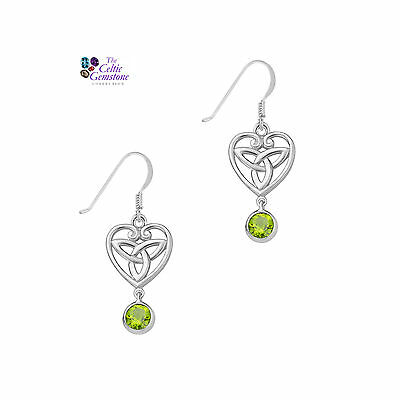 Celtic Sterling Silver Earrings with Peridot gemstones and Trinity Knot 9328