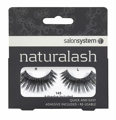 Salon System Quick Easy Re-Usable Natural Pair Eyelashes Black 145 Fake Lashes