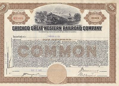 Chicago Great Western Railroad Company 1931 Common 100 Shares Stock Certificate