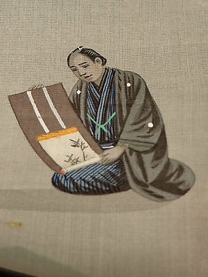 Japanese Antique Mininature Painting On Slik Noble Man Museum Meiji Period