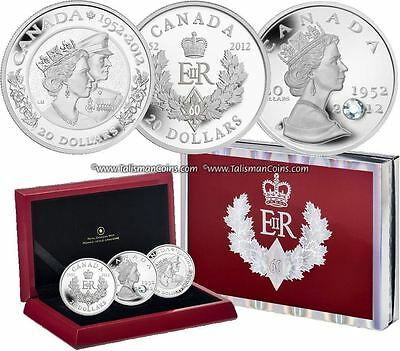 Canada 2012 Queen Elizabeth II 60th Jubilee 3 Coin $20 Pure Silver Proof Set