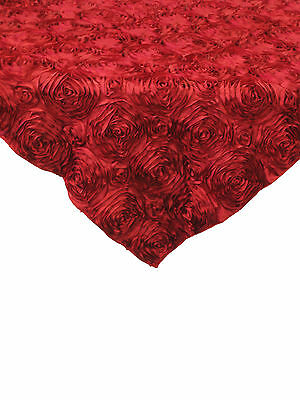 """10 Red 54""""x54"""" Rosette Rose Satin Table Overlays 3D Tablecloths Event Wedding"""