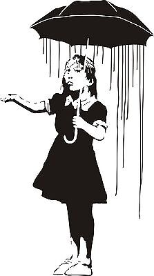 Banksy girl with umbrella Long way home  wall art sticker decal