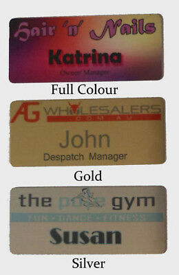 1 x NAME BADGE w/ MAGNET tags business work staff logo 7x3 cm metal cheap nurse