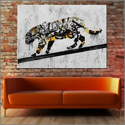 BANKSY RESPRAY (A REAL PAINTING!) FRAMED/GLOSSED 140cm x 100cm Tiger Fiction