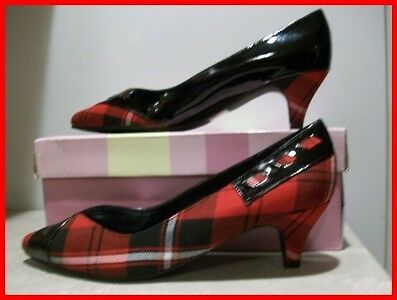 "Classy Red Plaid & Black Patent Pumps/Shoes/2"" Heel-6.5"