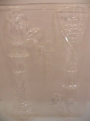 "Candy Molds Chocolate Rose Vase 9"" Plastic Flower"