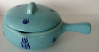 1 Cronin Pottery Blue Turquoise Tulip Individual Casserole With Lid