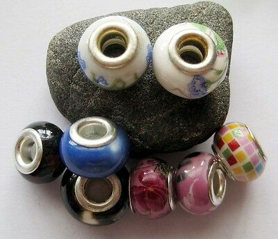 8Pcs Big Hole Chinese Ceramics Porcelain Beads