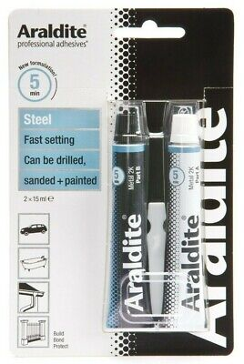 Araldite Steel Fast Setting Solvent Free Strong Adhesive Glue - 2 x 15ml Tubes