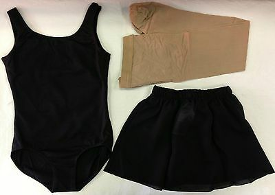 Bloch CL5405 Girls' Large (12) Black Tank Leotard Tan Footed Tights Black Skirt