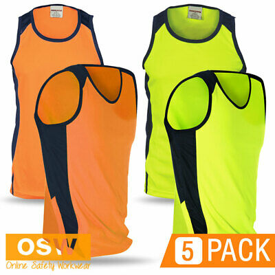 5 X Unisex Hi Vis Orange/lime/yellow Micromesh Work Warehouse Cool Dry Singlets
