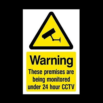 CCTV These premises are Monitored Plastic Sign or Sticker - Security Camera