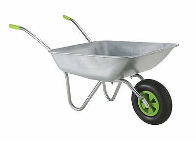 Wheelbarrow Garden Wheel Barrow, Galvanised with Pneumatic Tyre