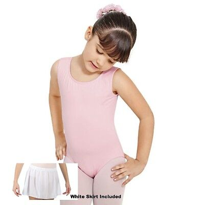 Economy Forum Girl's Large (12-14) Pink Tank Leotard Footed Tights & White Skirt