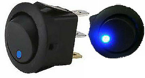 Round Rocker Toggle Switch With Blue Led 12V Car Dash On/Off Robinson K732