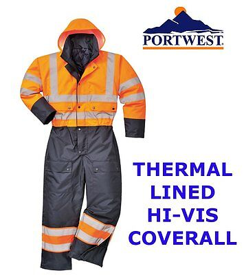 Portwest Hi vis thermal lined coverall, thermal fishing motorbike suit overalls