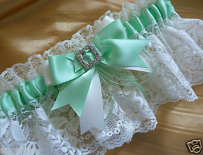 Mint Green And Ivory French Wedding Bride Garter Satin Lace Bow Square Diamantes