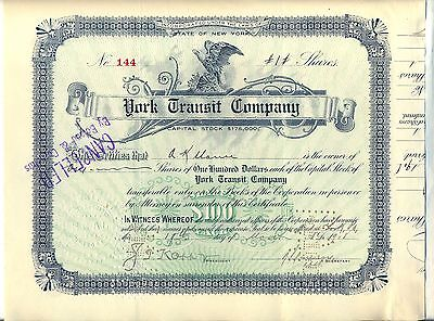 York Transit Company Stock Certificate New York