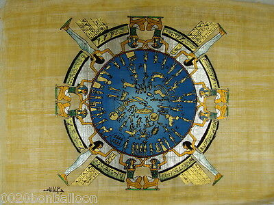 "Pharaoh Zodiac Astrology Original Hand Painted Papyrus 8""X12"" (20x30 Cm)"