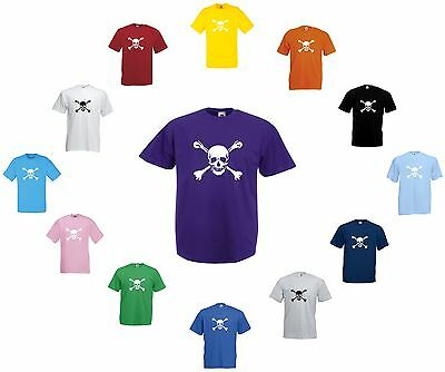 Skull And Crossbones T-Shirt Jolly Roger Pirate Biker Adult And Children's Sizes
