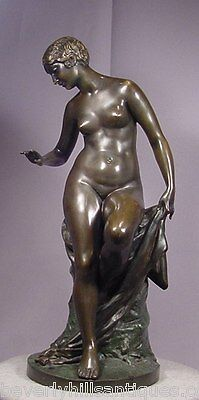 """Beautiful Antique Bronze Nude Lady Sculpture Signed Werner Museum Quality 18.5"""""""