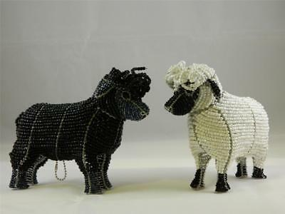 Sheep Duo Two 2 Black White Glass Beads Beaded Wire Hand Crafted Beadworx NWT