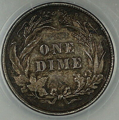 1892 Barber Silver Dime 10c, ANACS AU-53, Toned, Better Coin