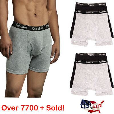 6 Mens Boxer Briefs 100% Cotton Black Gray White Underwear Pair Lot S M L XL XXL