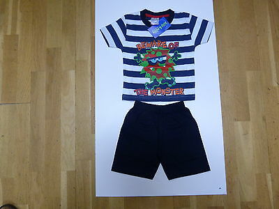 """Billy  """"Mischief Boys"""" Beware of the Monster Striped Top & Navy Shorts Set"""