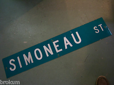 "Large Original Simoneau St Street Sign 48"" X 9"" White Lettering On Green"