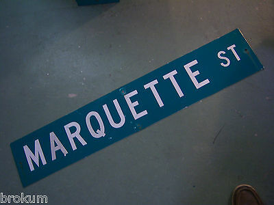 "Large Original Marquette St Street Sign 48"" X 9"" White Lettering On Green"