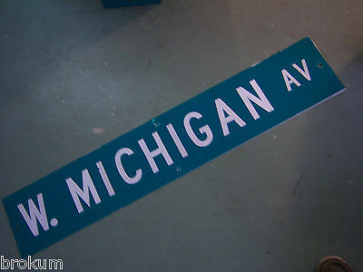 "Large Original W. Michigan Av Street Sign 48"" X 9"" White Lettering On Green"