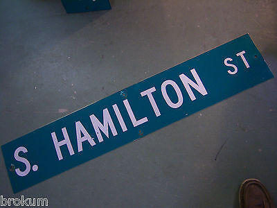 "Large Original S. Hamilton St Street Sign 48"" X 9"" White Lettering On Green"