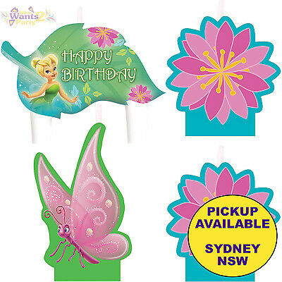 TINKERBELL PARTY SUPPLIES 4pc BIRTHDAY CAKE CANDLES SET TOPPERS