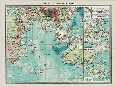 Indian Ocean - Cables & Ocean Depths  Map in 1908