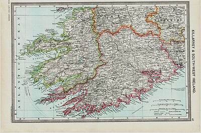 Killarney and South West Ireland  Map  in 1908