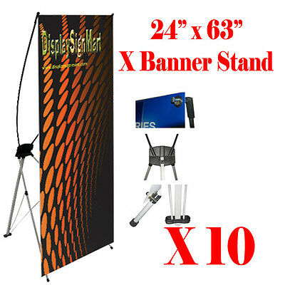 "10 Pc X Banner Stand 24"" x 63"" w/ Free Bag , Trade Show Display Banner X-banner"