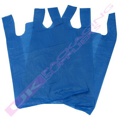 "BLUE PLASTIC VEST STYLE SHOPPING CARRIER BAGS 11 x 17 x 21"" *MULTI ITEM LISTING*"