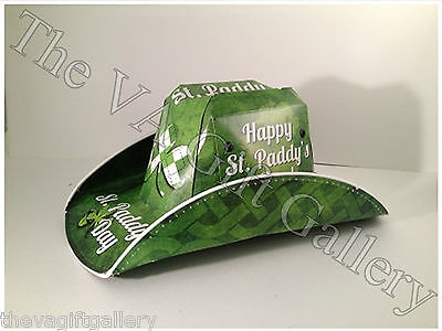 St Patricks Day Cowboy Beer Box Hat Party Novelty Drinking Green Beer Stetson
