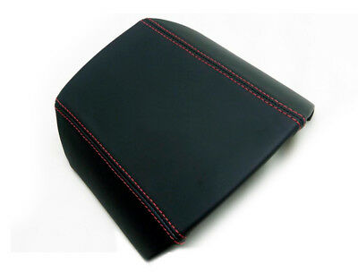 Armrest Center Console Lid Cover Leather For Camaro 10-15 Black Red Stitch