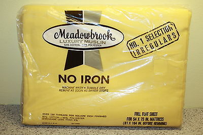 VINTAGE NEW MEADOWBROOK NO-IRON FULL FLAT SHEET  YELLOW COTTON POLYESTER