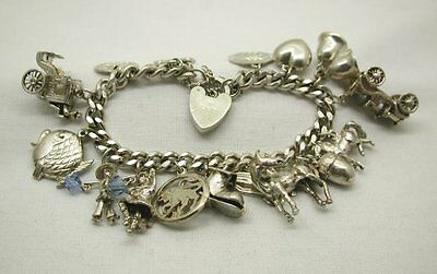 Vintage Solid Silver Curb Link Charm Bracelet With 15 Charms & Padlock Fastener