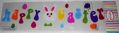 Easter Gel Window Stick-Ons HAPPY EASTER  Bunny Rabbit Face and Colorful Eggs